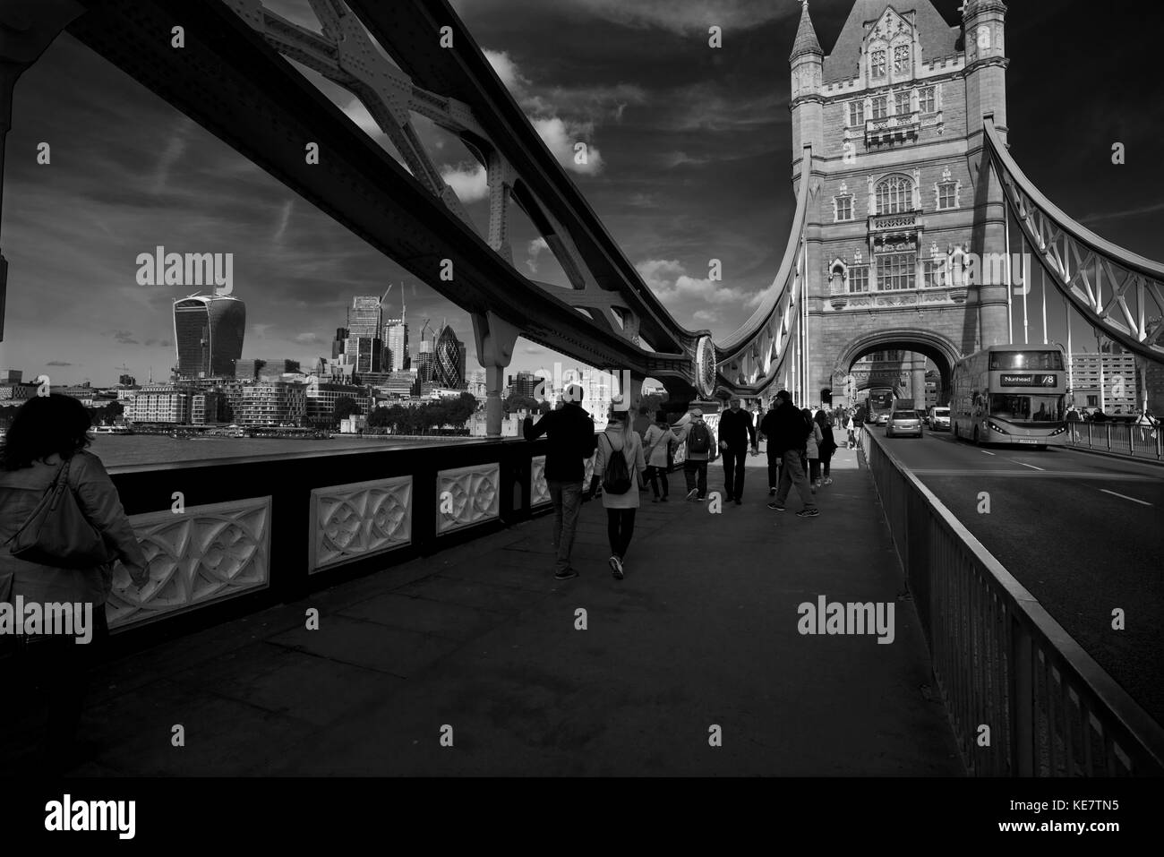 Tower Bridge across the River Thames in London England. Oct 2017 Tower Bridge is in London: it crosses the River - Stock Image