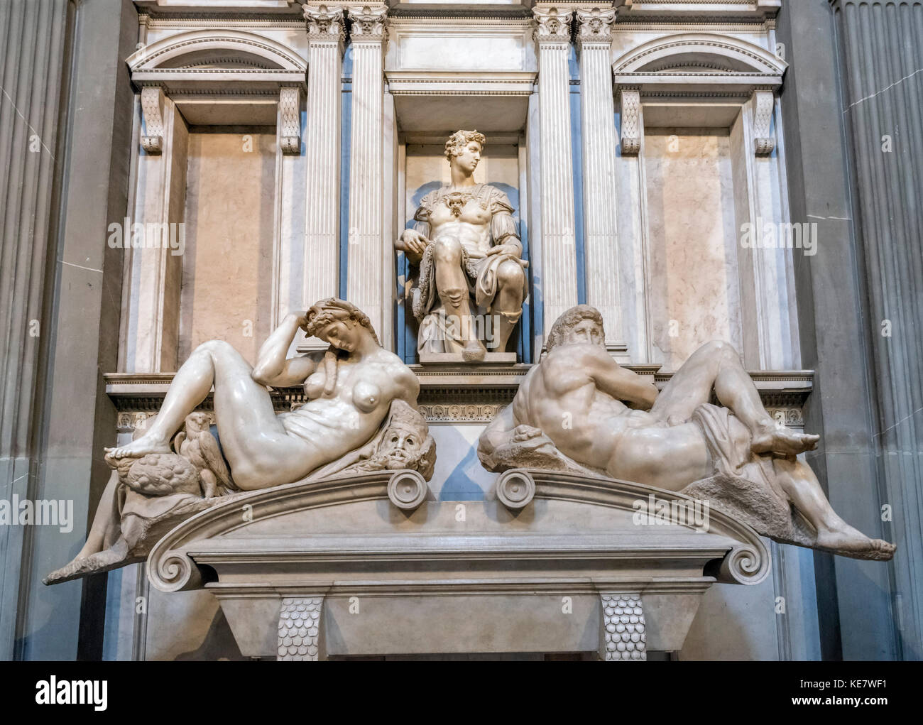 The tomb of Giuliano, Duke of Nemours by Michelangelo, Cappelle Medicee, Church of San Lorenzo, Florence, Italy. - Stock Image