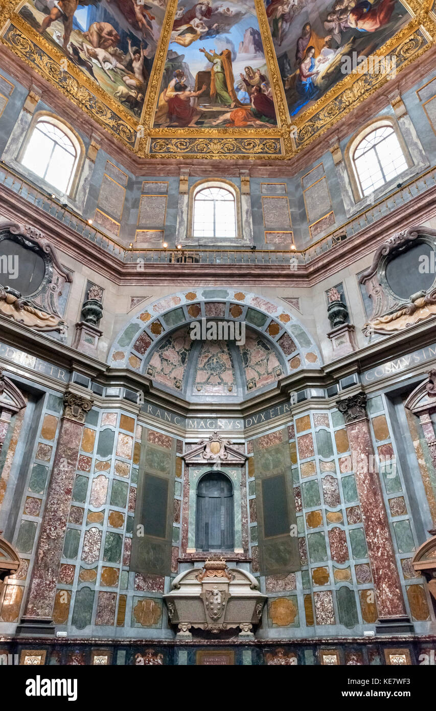 Interior of the Cappelle Medicee, Church of San Lorenzo, Florence, Italy. - Stock Image