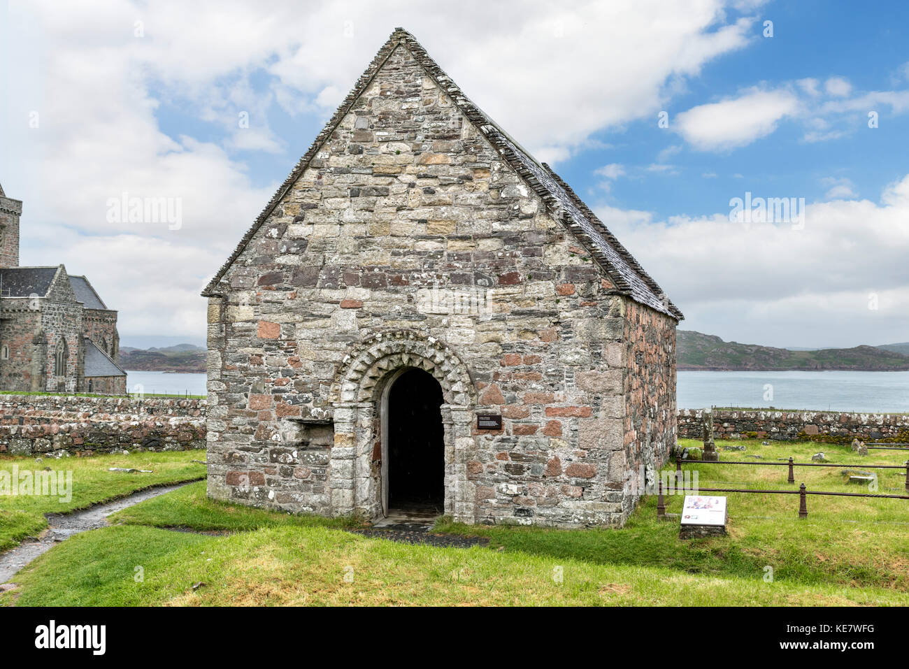 St Oran's Chapel, dating from the 1100s,, is the oldest intact structure on the Isle of Iona, Argyll and Bute, - Stock Image