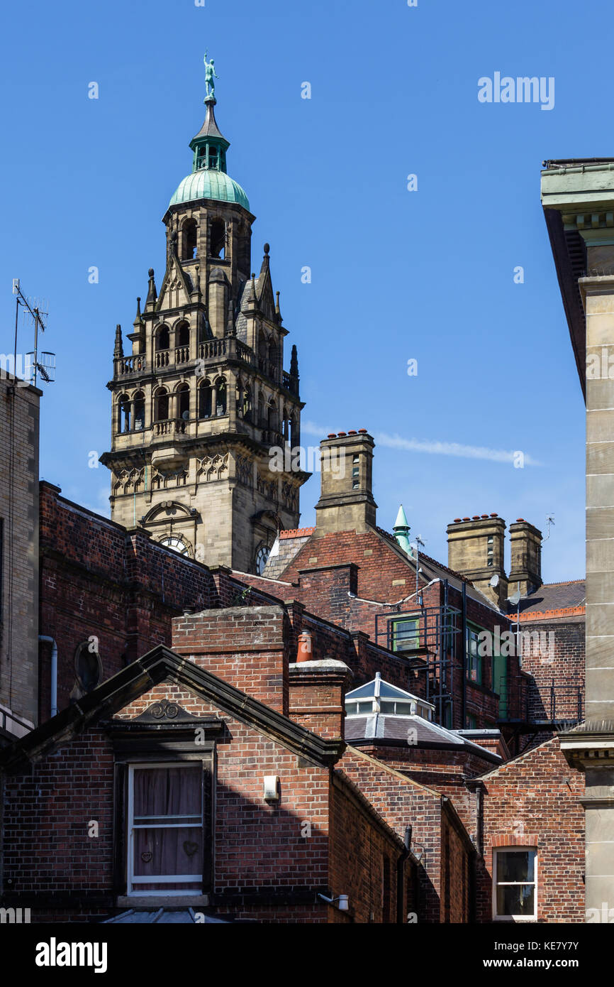View of Sheffield Town Hall over rooftops, taken from Norfolk Street, Sheffield, UK Stock Photo