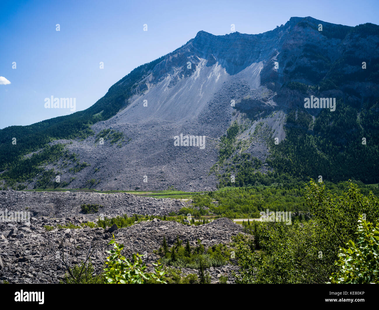 Frank Slide in the Crowsnest Pass, a massive rockslide from Turtle mountain in 1903, burying the town of Frank; - Stock Image
