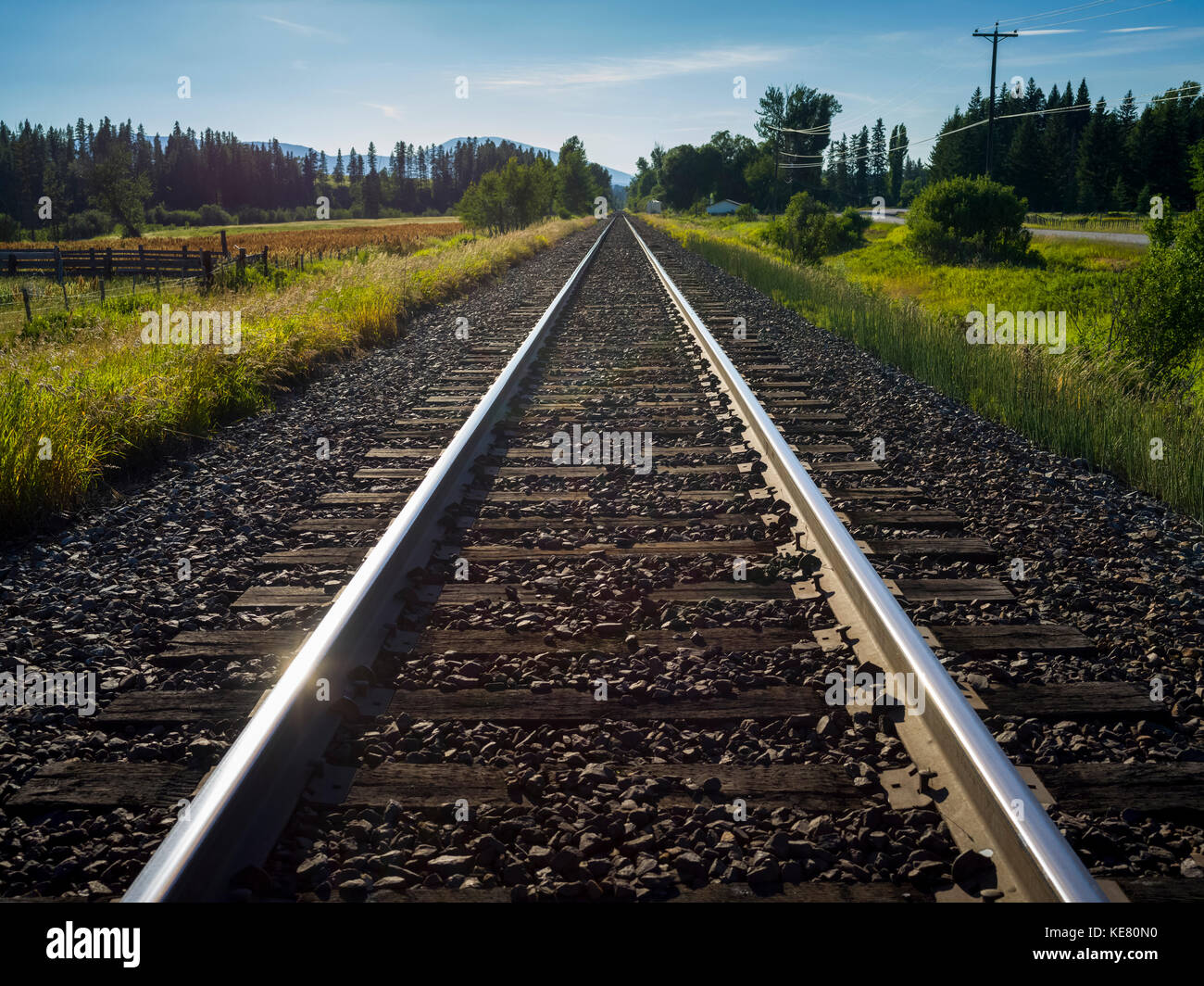 Close-up of train tracks with the Rocky mountains in the distance; Fernie, British Columbia, Canada - Stock Image