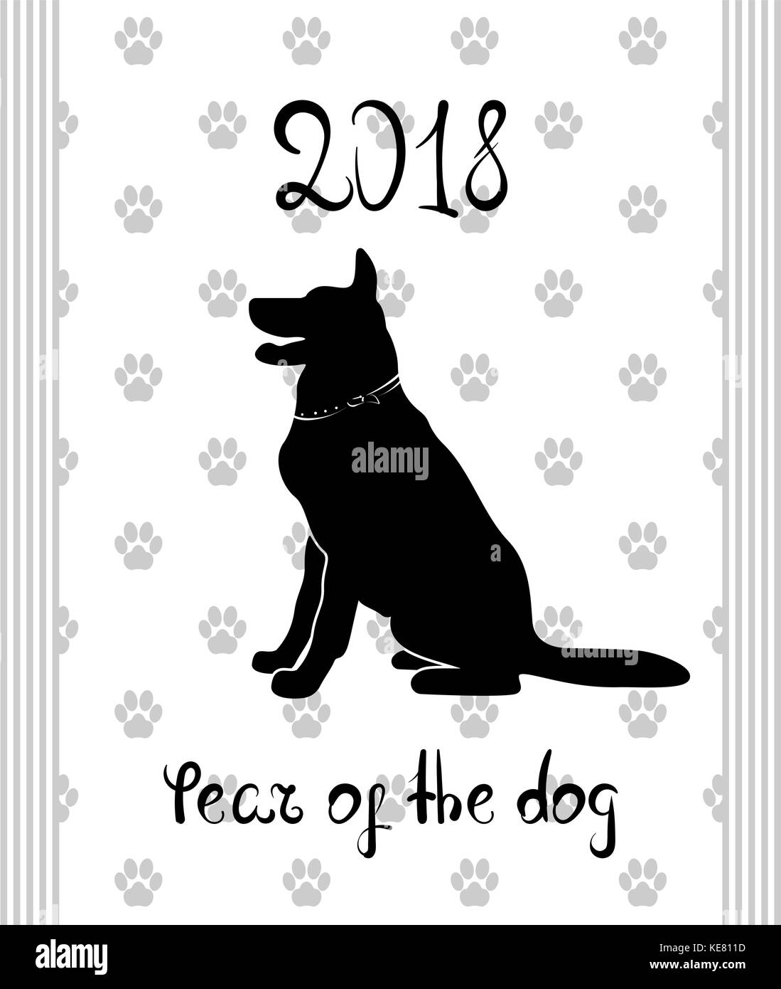 chinese new year 2018 zodiac dog happy new year card pattern art with dog hand drawn vector illustration