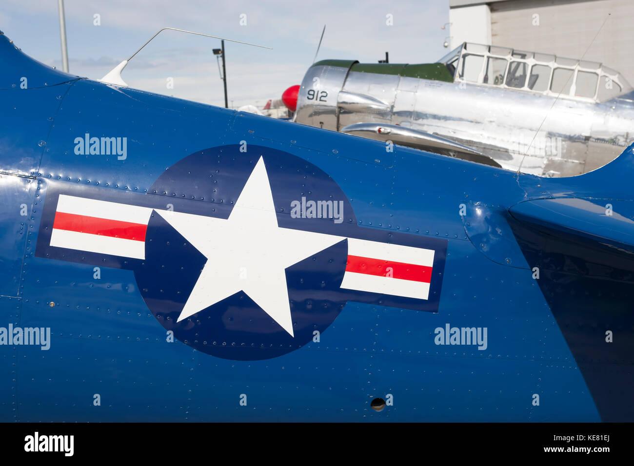 Vintage Wwii Aircraft At The Alaska Airmen's Air Show, Alaska, USA - Stock Image