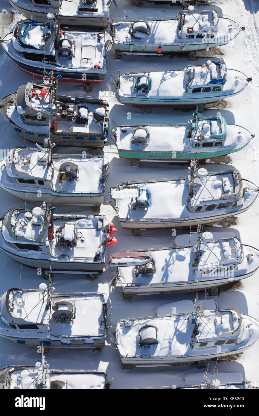 Aerial Of Northern Enterprises Boat Yard, Dry Dock In Winter, Homer, Southcentral Alaska, USA - Stock Image