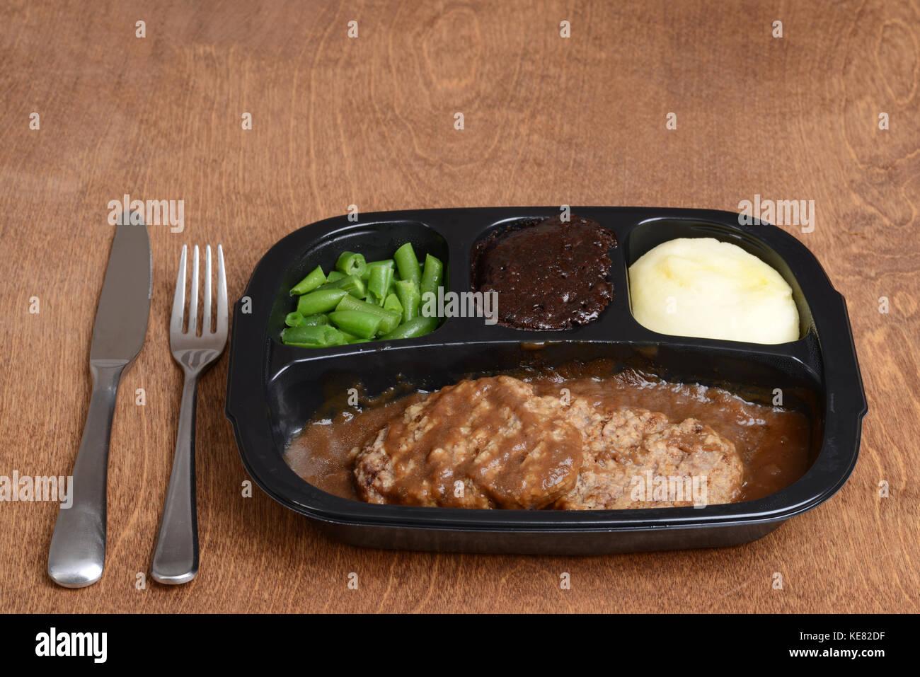 salisbury steak tv dinner - Stock Image
