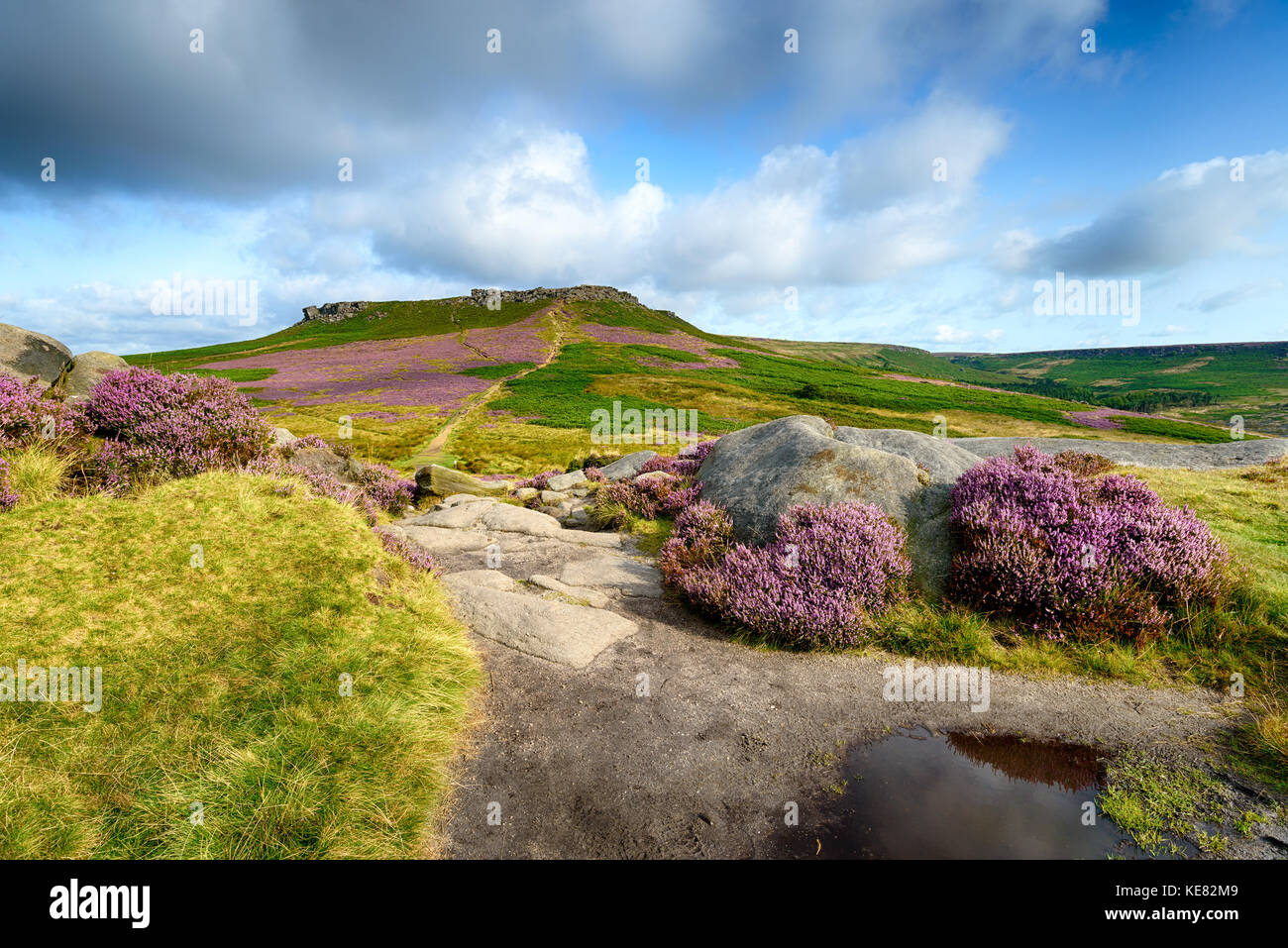 Carl Wark in the Peak District national Park, looking out to Higger Tor - Stock Image