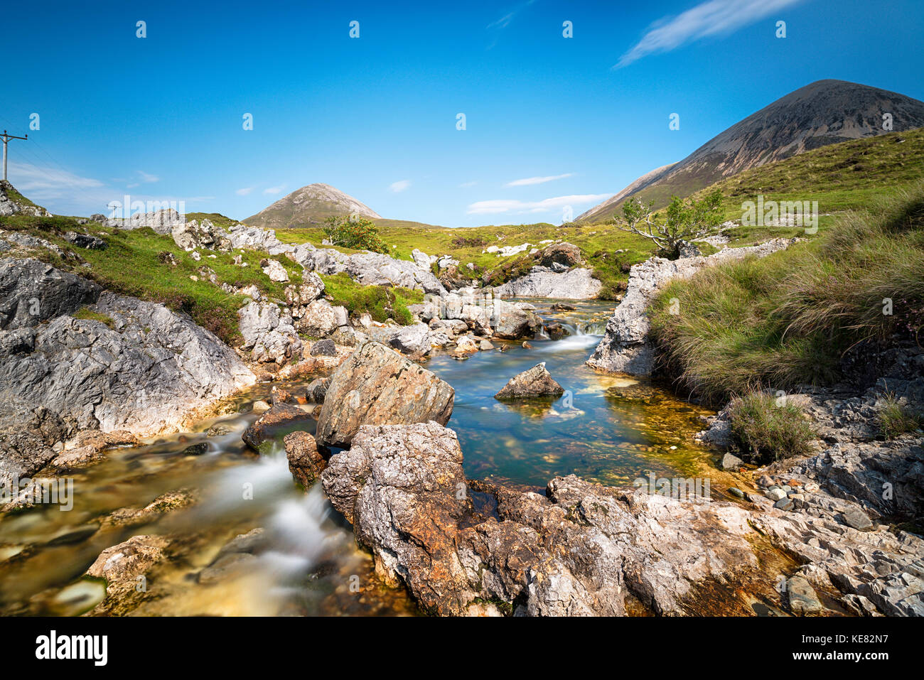 The Allt Aisridh, a mountain stream that flows in to Loch Saplin at Torrin on the Isle of Skye in Scotland - Stock Image