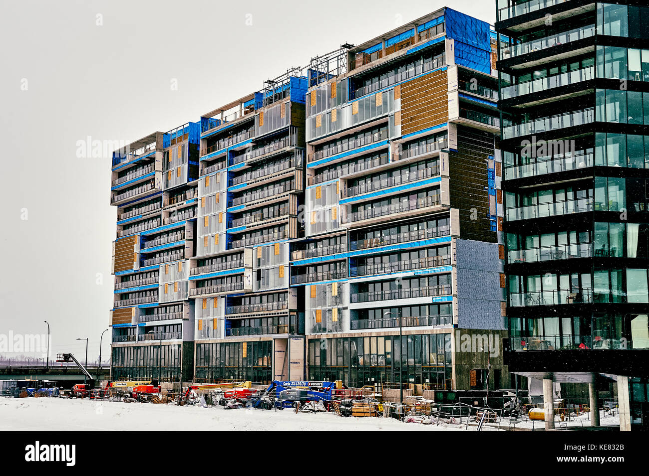 Condominium Buildings Being Built In Panam Village; Toronto, Ontario, Canada - Stock Image