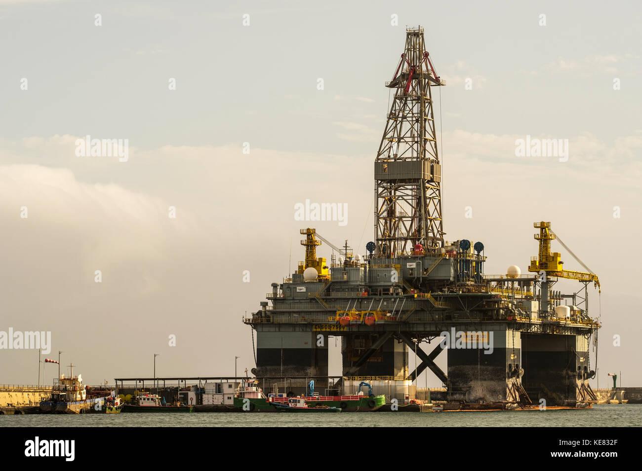 Ensco 7500 Drilling Platform, Santa Cruz Harbour; Santa Cruz, Tenerife, Canary Islands, Spain Stock Photo
