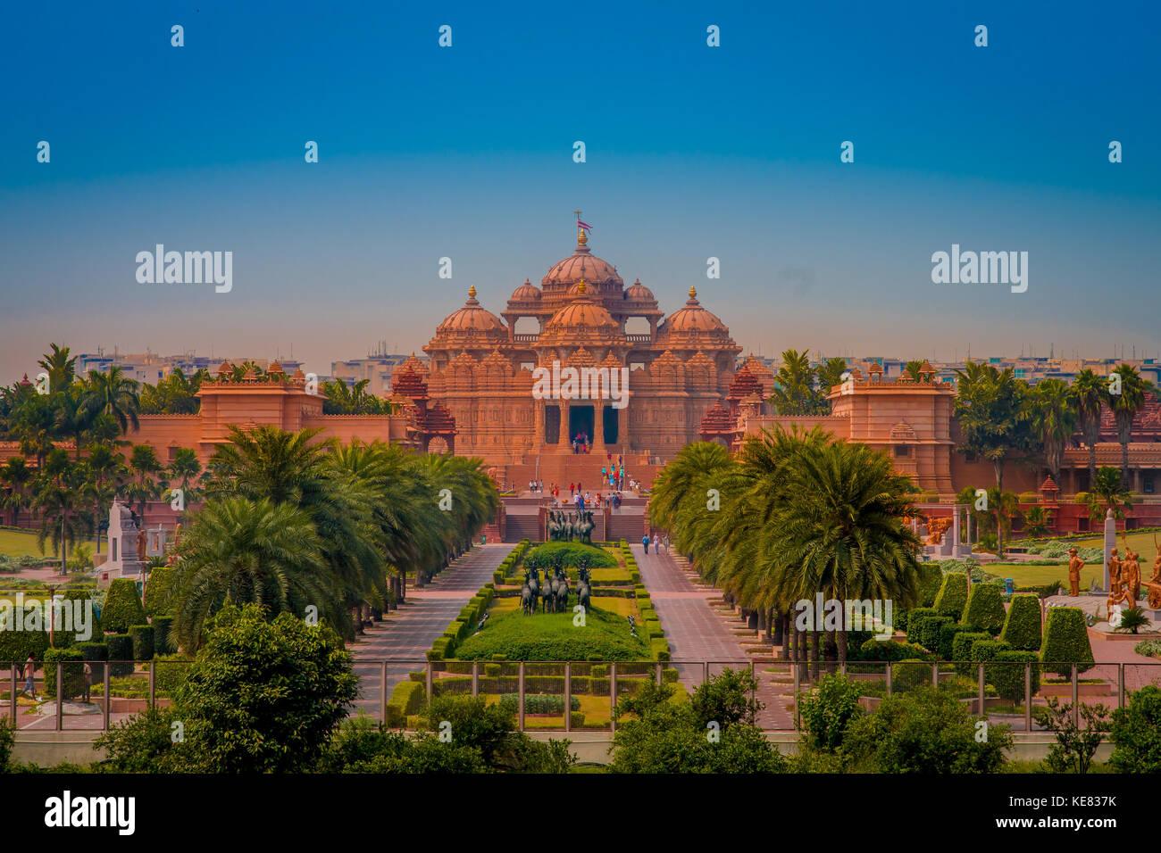 Jaipur, India - September 19, 2017: Akshardham Temple in New Delhi, India. Akshardham or Swaminarayan Akshardham - Stock Image