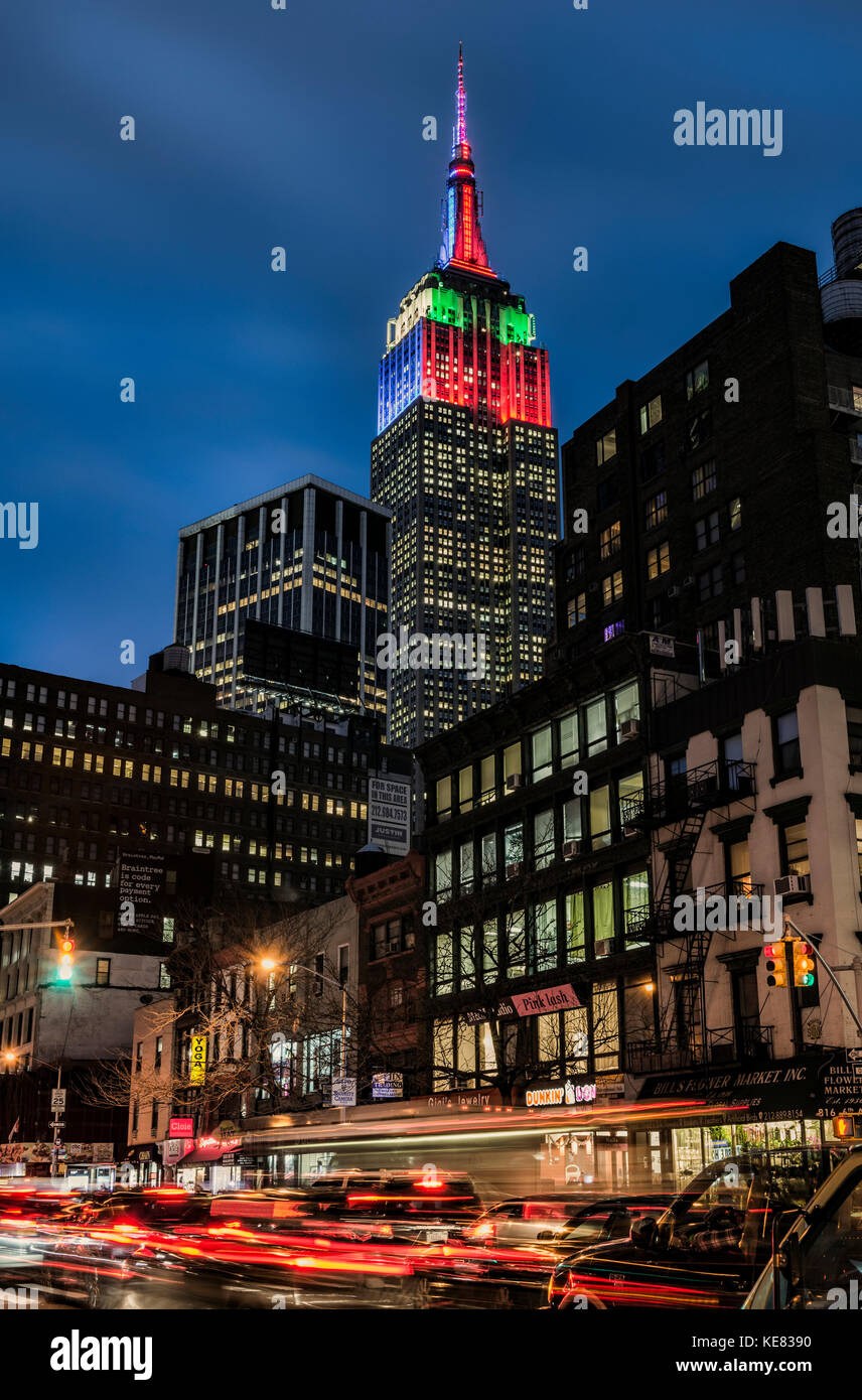 Empire State Building In Christmas And Hanukkah Colours; New York City, New York, United States Of America - Stock Image