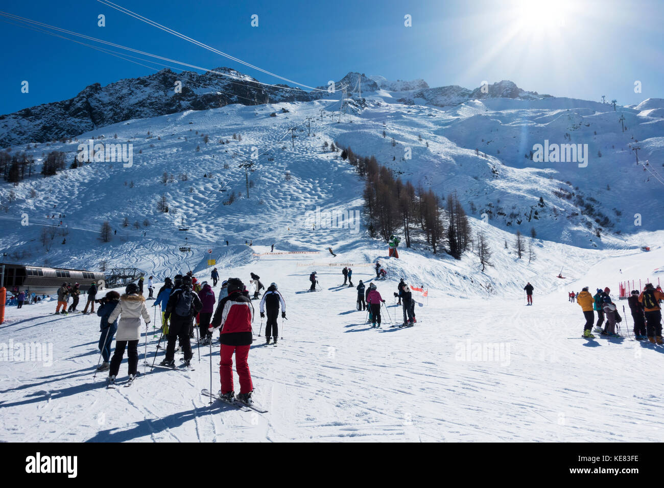 Skiers At A Ski Resort, Aiguille Ges Grands Montets; Chamonix, France - Stock Image