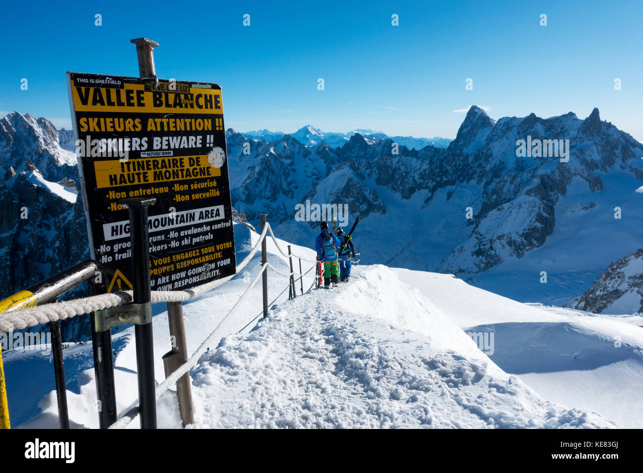 Route Down To The Vallee Blanche, Off-Piste Skiing; Chamonix, France - Stock Image