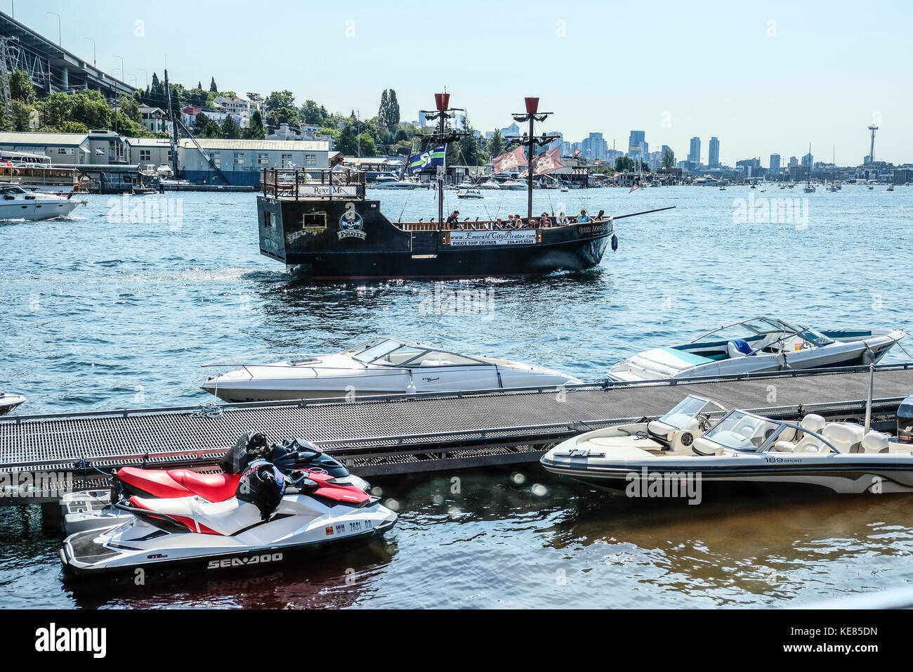 The Pirate boat touring Seattle's Lake Union in the summer - Stock Image