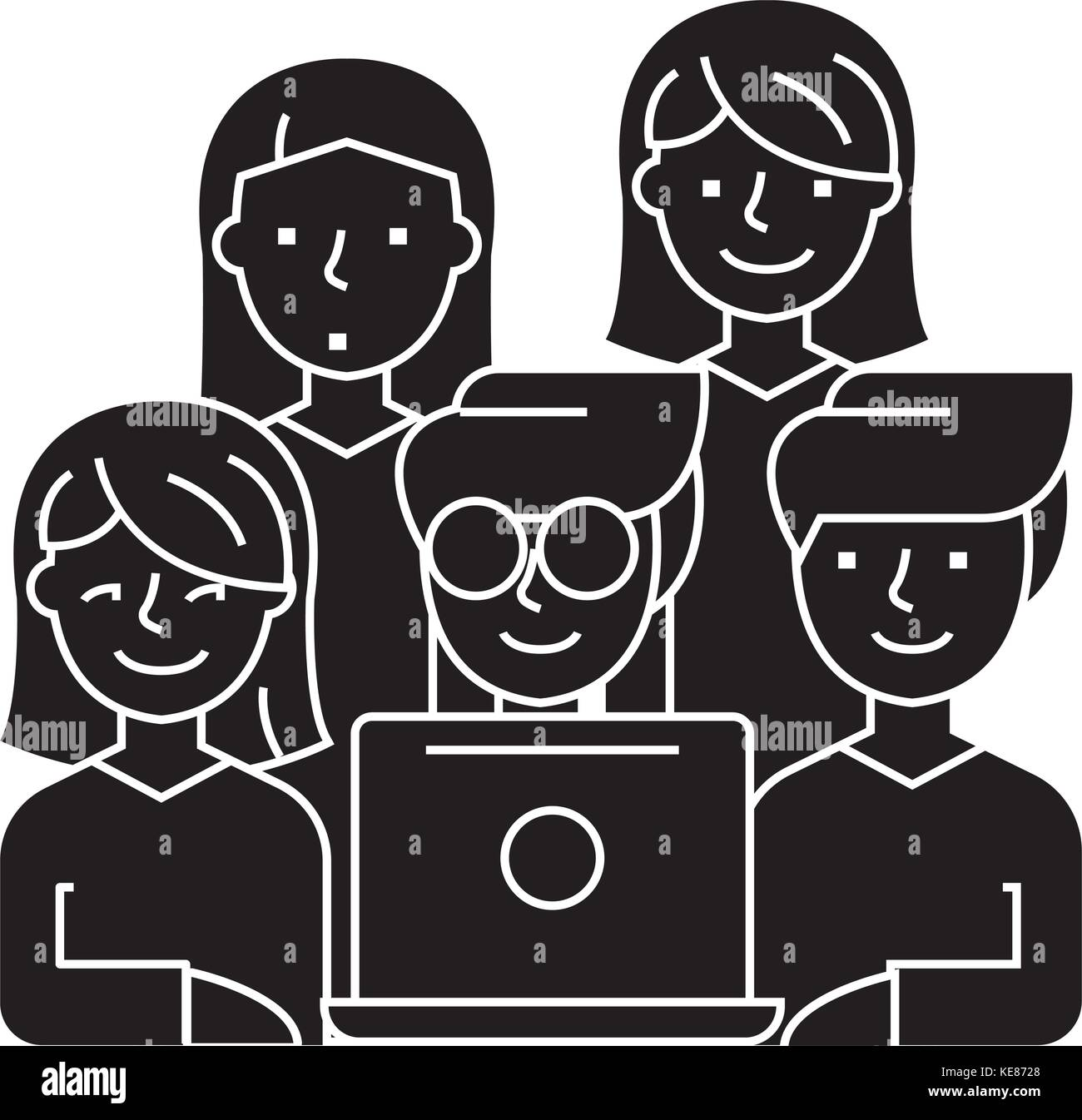 friends looking at notebook - 5 persons icon, vector illustration, black sign on isolated background - Stock Vector