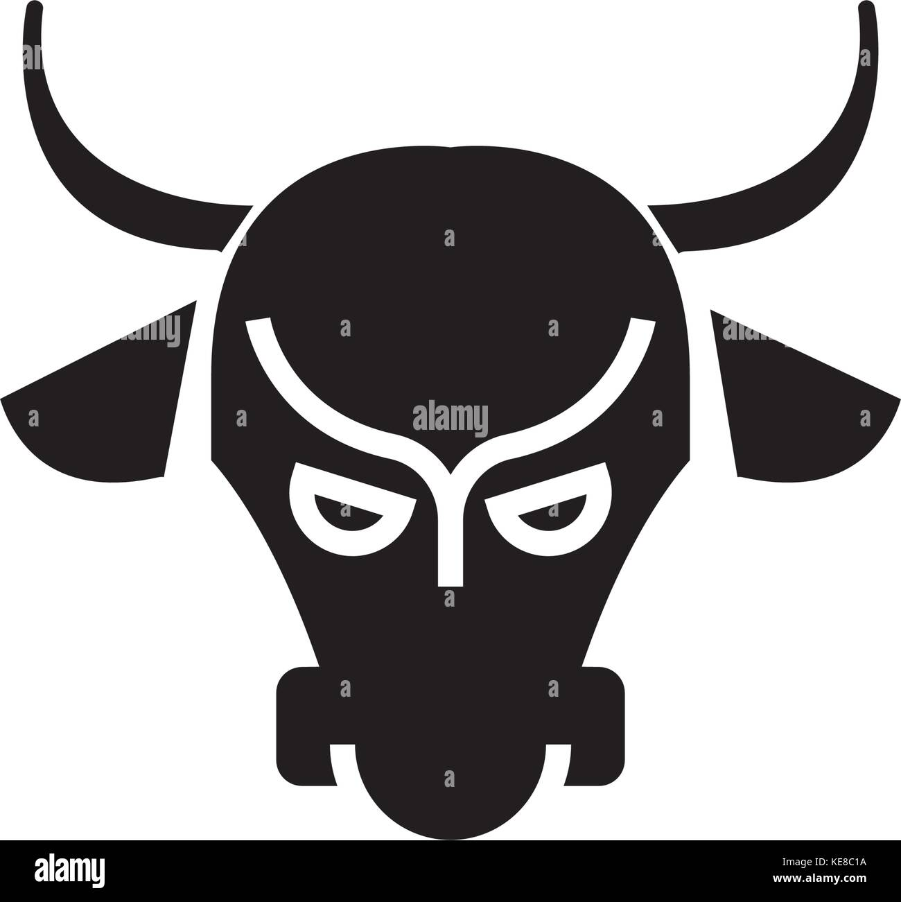 bull market - stock market - bullish icon, vector illustration, black sign on isolated background - Stock Image
