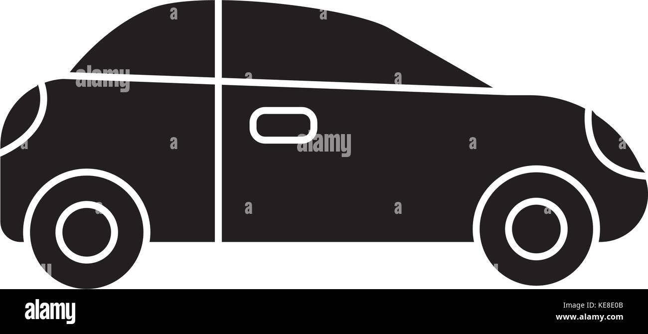 car sedan vehicle icon, vector illustration, black sign on isolated background - Stock Vector