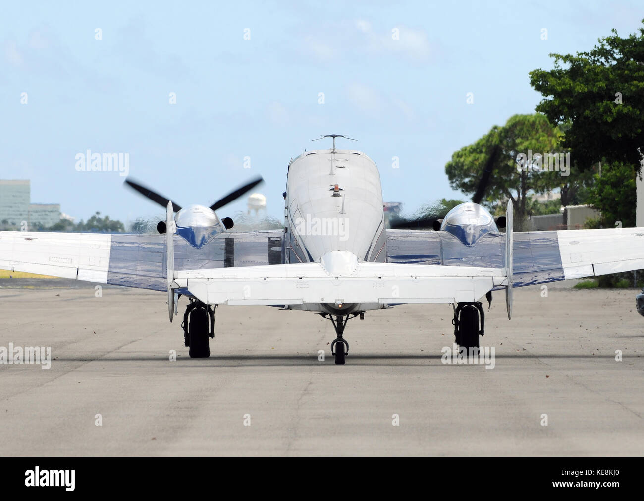 Classic turboprop airplane with running engines - Stock Image