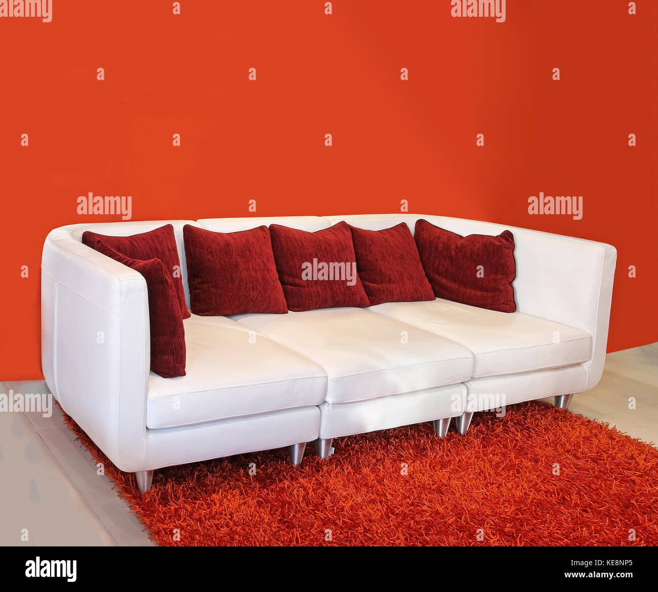 Red Leather Sofa Carpet White Stock Photos Red Leather Sofa