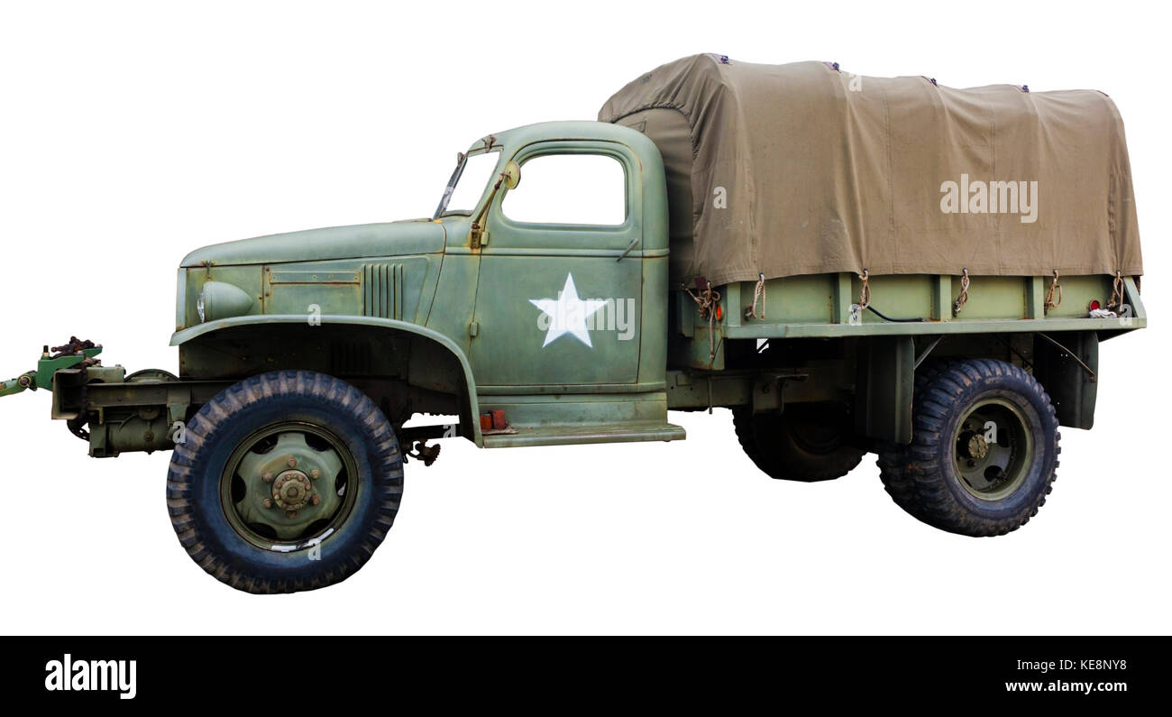Side View Of Isolated Vintage Green Army Truck With White Star Stock Photo 163691340