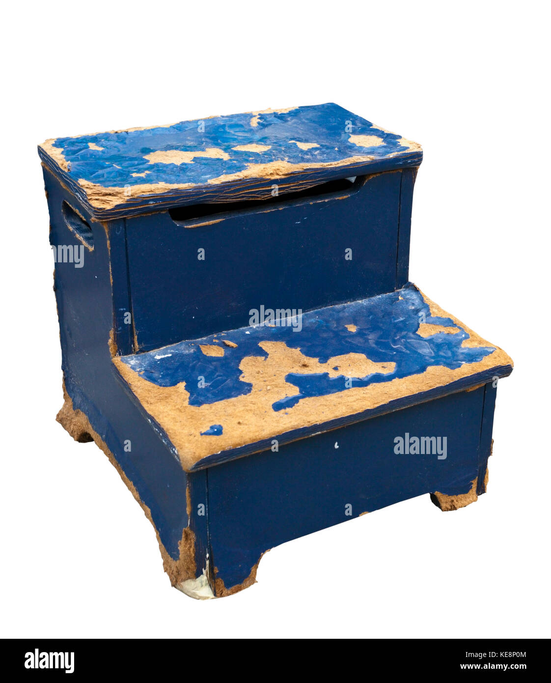 Weathered blue shoe shine stand or foot stool. Isolated. - Stock Image