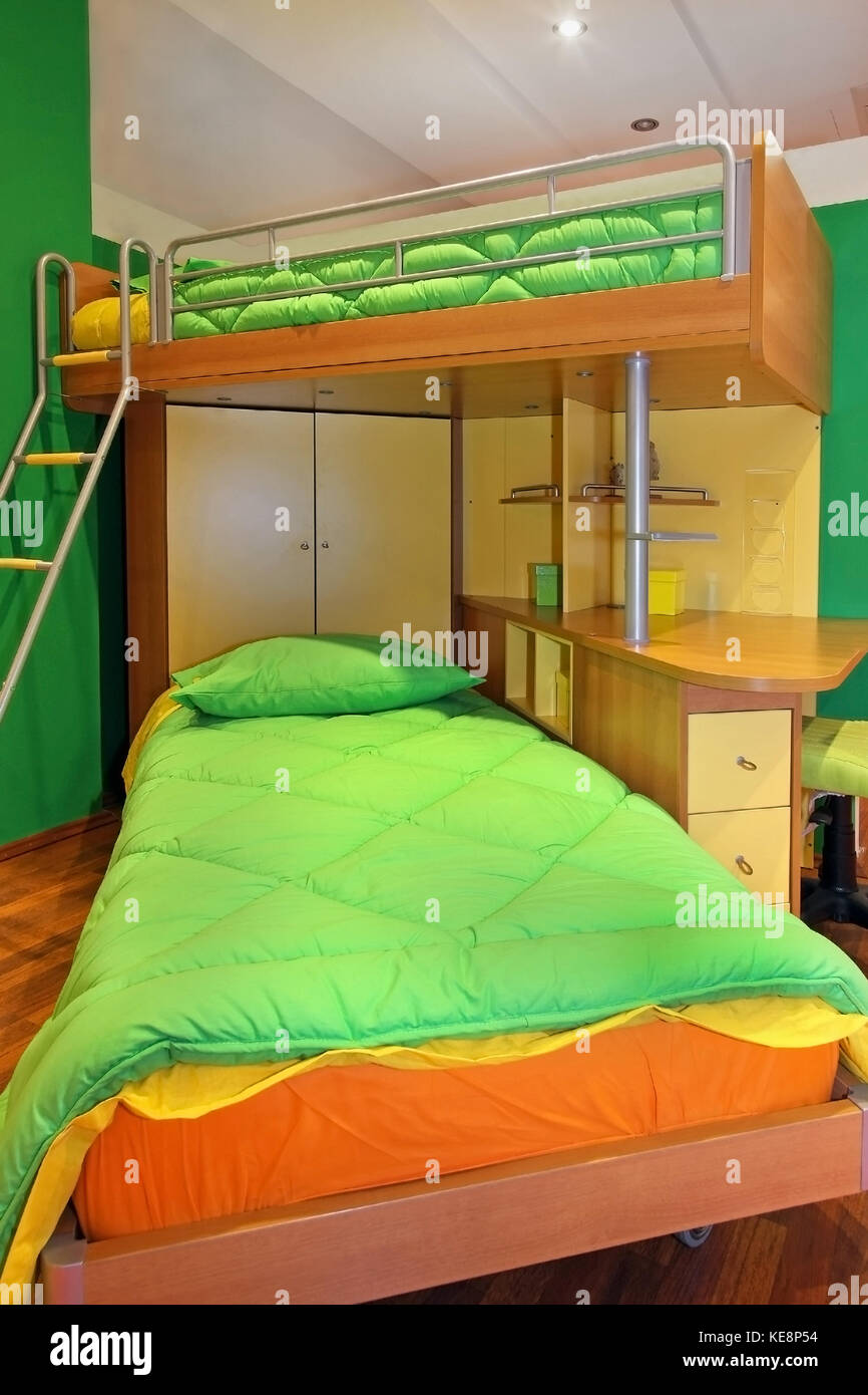 Picture of: Kids Double Bedroom Interior With Bunk Bed Stock Photo Alamy