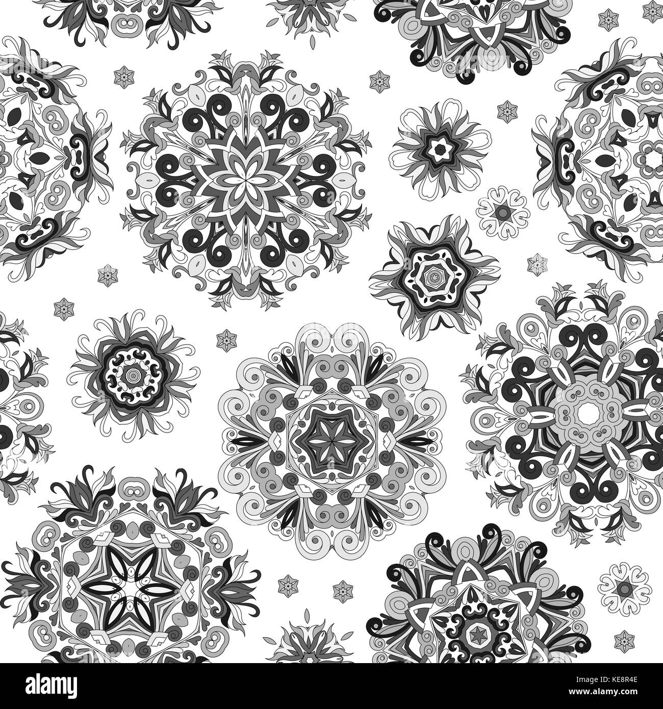 Floral seamless pattern with stylized snowflakes. Gray snowflake on white background. Black and white print. - Stock Image