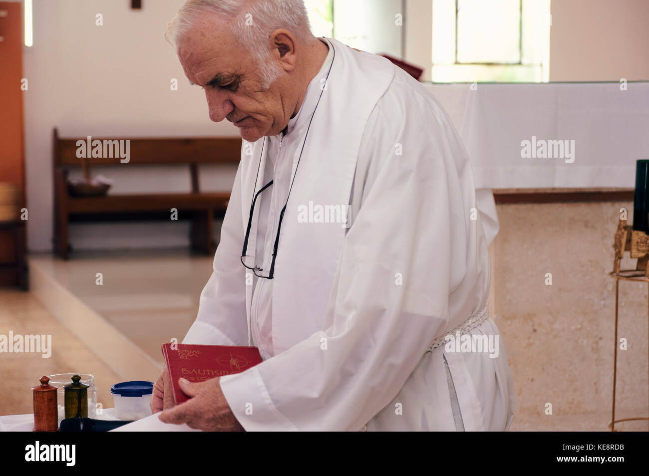 Baby baptism catholic church ceremony - Stock Image