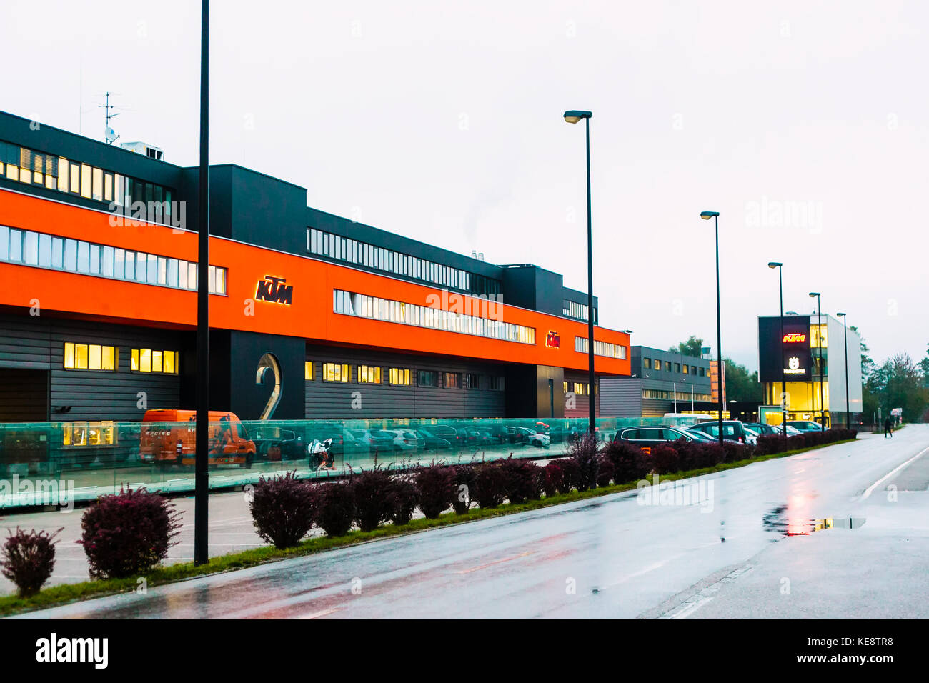 MATTIGHOFEN, AUSTRIA - OCTOBER 19, 2015: The headquarters for Kraftfahrzeug Trunkenpolz Mattighofen (KTM), in Mattighofen, - Stock Image