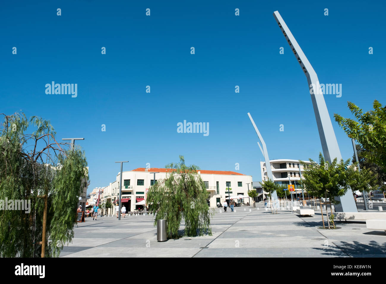 The newly upgraded Kennedy Square in Paphos Old Town to coincide with Pafos European City of Culture 2017 celebrations. Stock Photo
