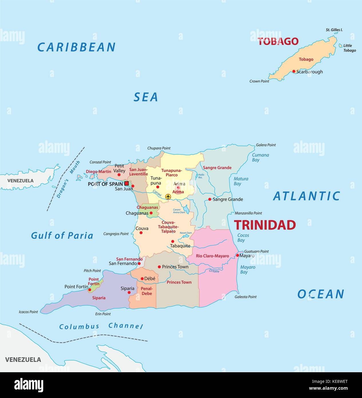 trinidad and tobago administrative and political vector map Stock