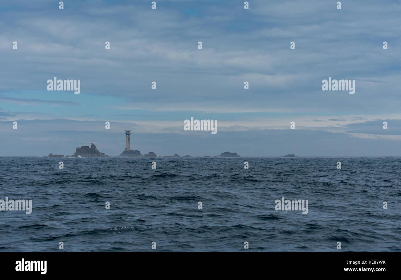 Longships lighthouse with the Manacles rocks - Stock Image