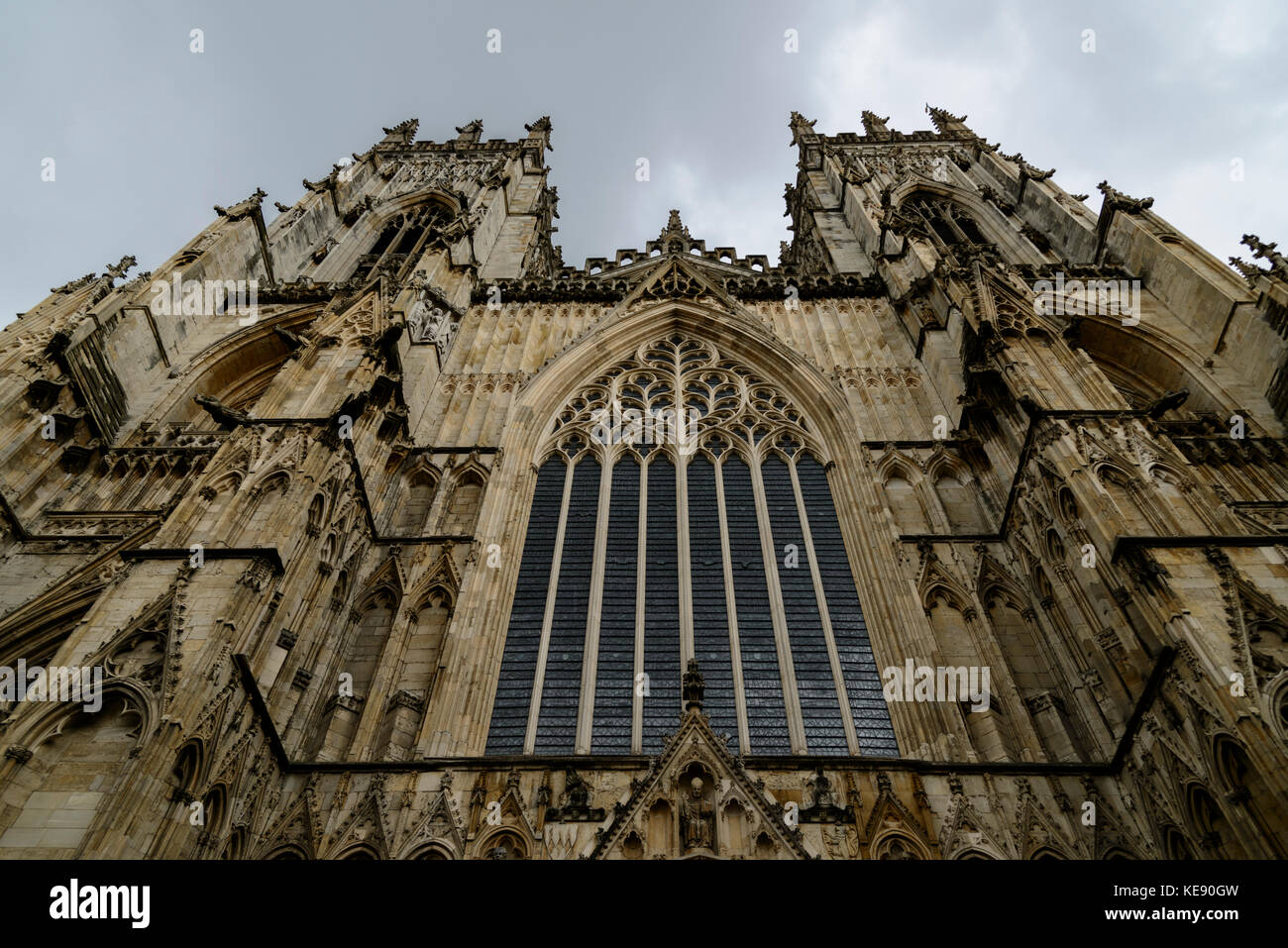 Imposing front of York Minster - Stock Image