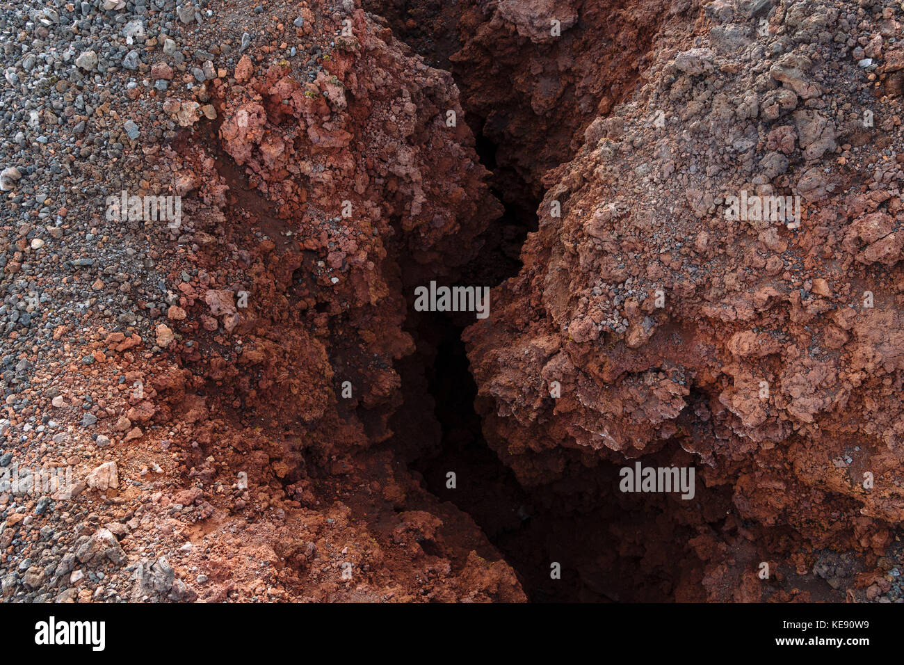 Solidified lava, volcanic vent at the summit of the volcano Hekla, South Iceland, Iceland - Stock Image