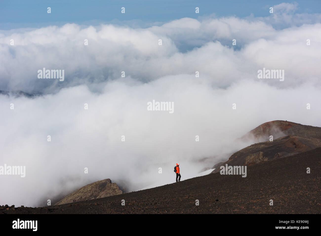 Hiker on lava field, summit region, volcano Hekla, South Iceland, Iceland - Stock Image