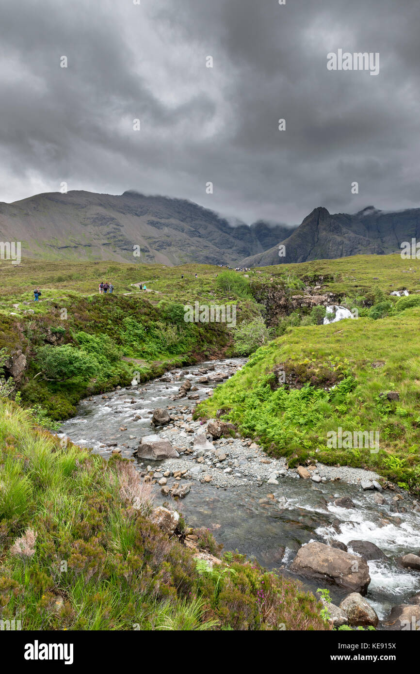 Walkers on the path to the Fairy Pools, Glen Brittle, Isle of Skye, Highland, Scotland, UK - Stock Image