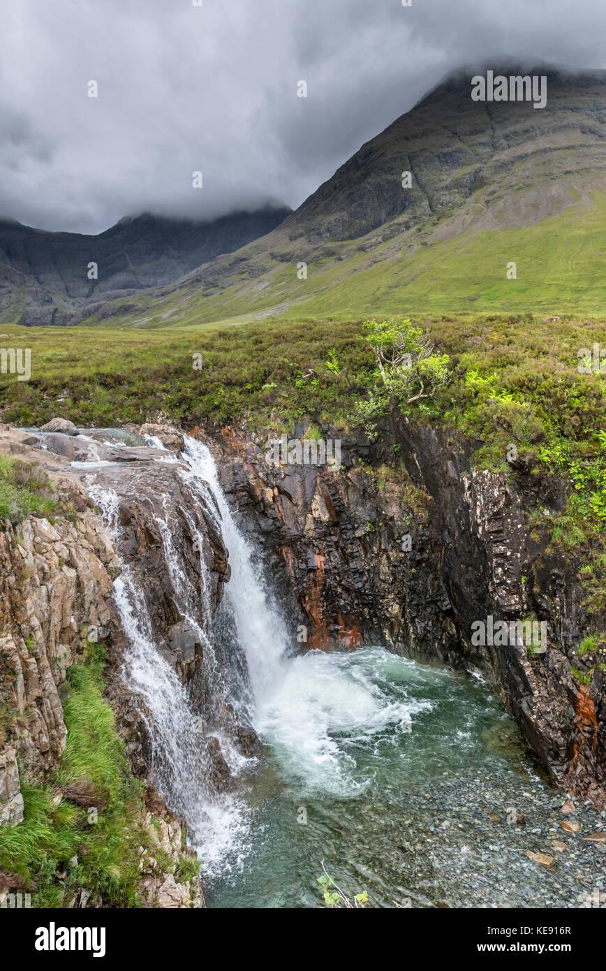 Waterfall at the Fairy Pools, Glen Brittle, Isle of Skye, Highland, Scotland, UK - Stock Image