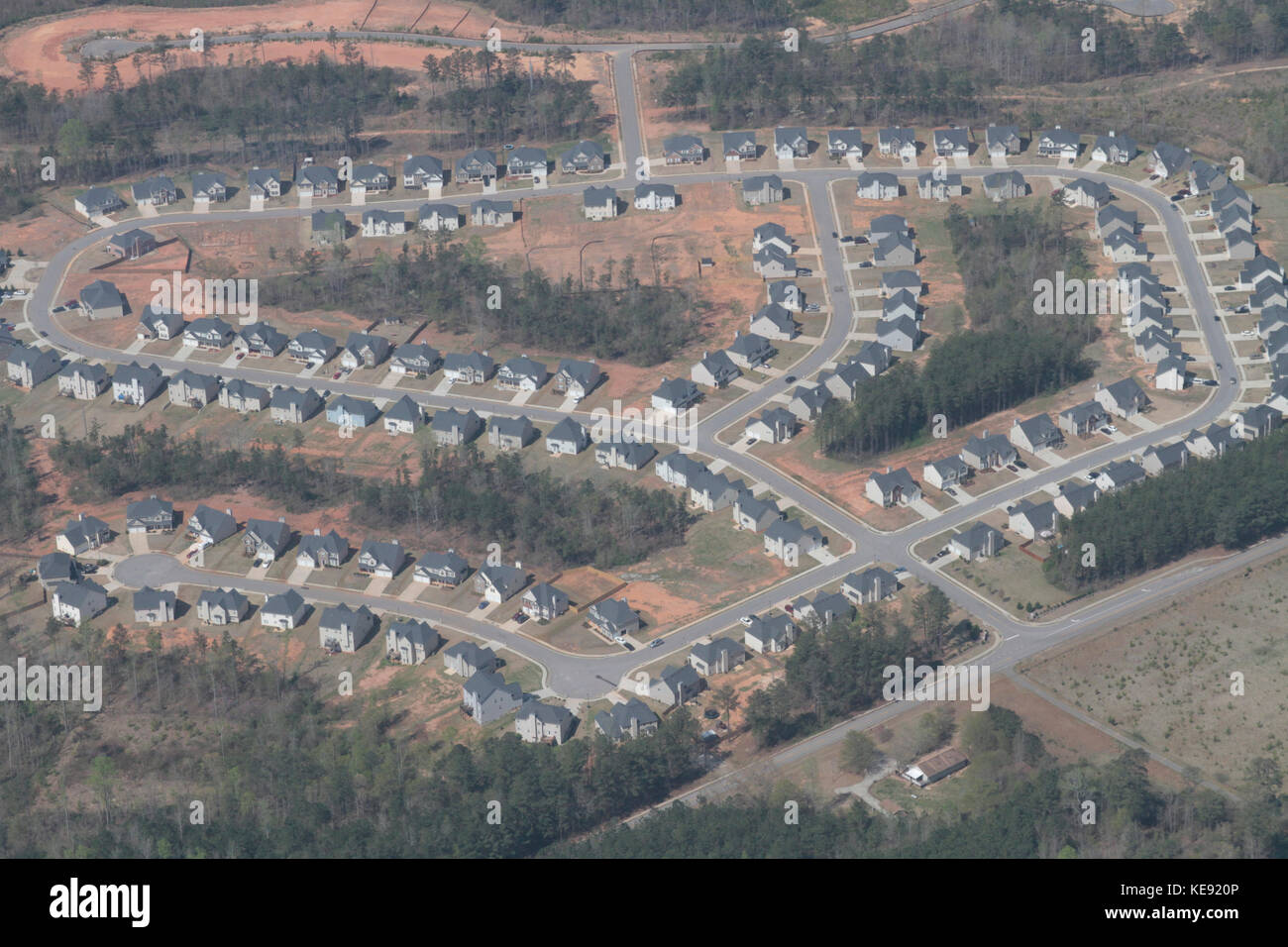 Aerial photo of suburban development south of Atlanta, Georgia, USA - Stock Image