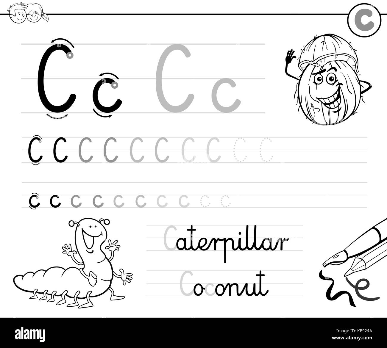 Workbooks letter c worksheets for preschool : Coloring Alphabet For Kids Stock Photos & Coloring Alphabet For ...