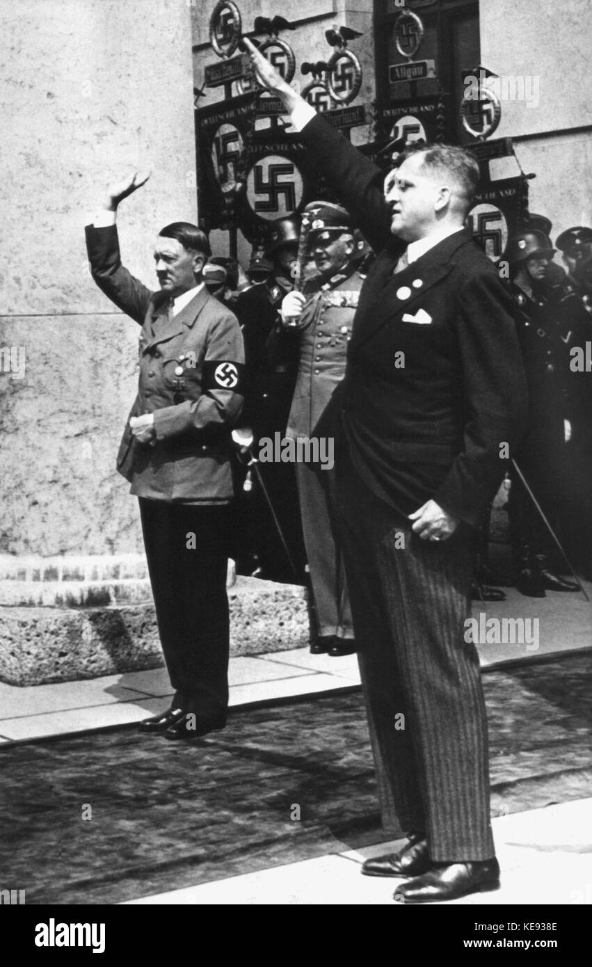 07-18-1937. Adolf Hitler inaugurates the House of German Art in Munich. Adolf Hitler (l) and the banker August von - Stock Image