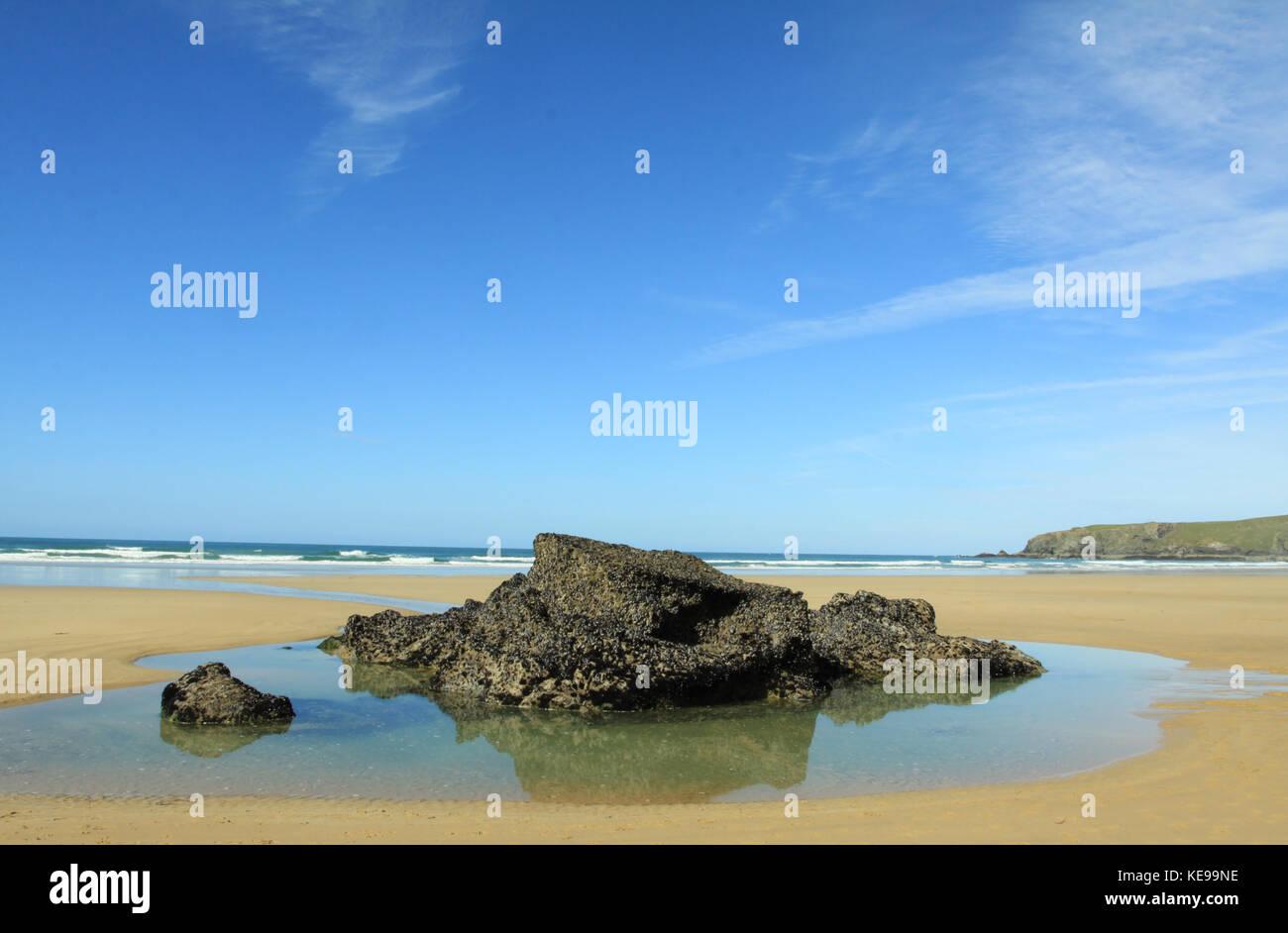 English coastal scene, Bedruthan Steps, Cornwall - Stock Image