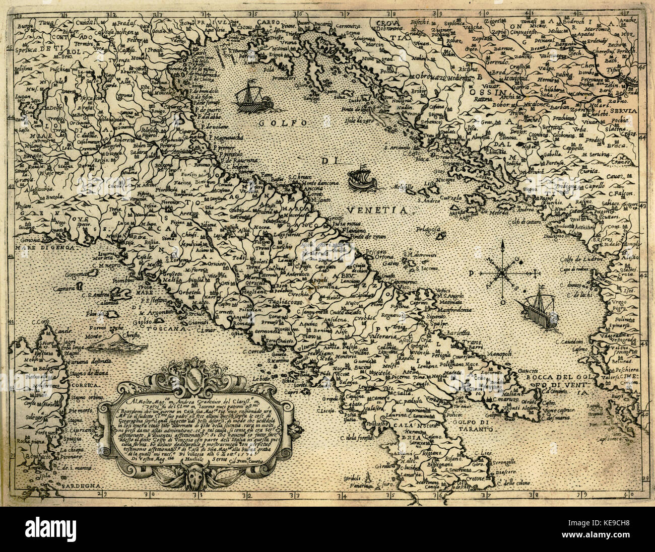Map of Italy and the eastern coast of the Adriatic Sea   Camocio Giovanni Francesco   1574 - Stock Image