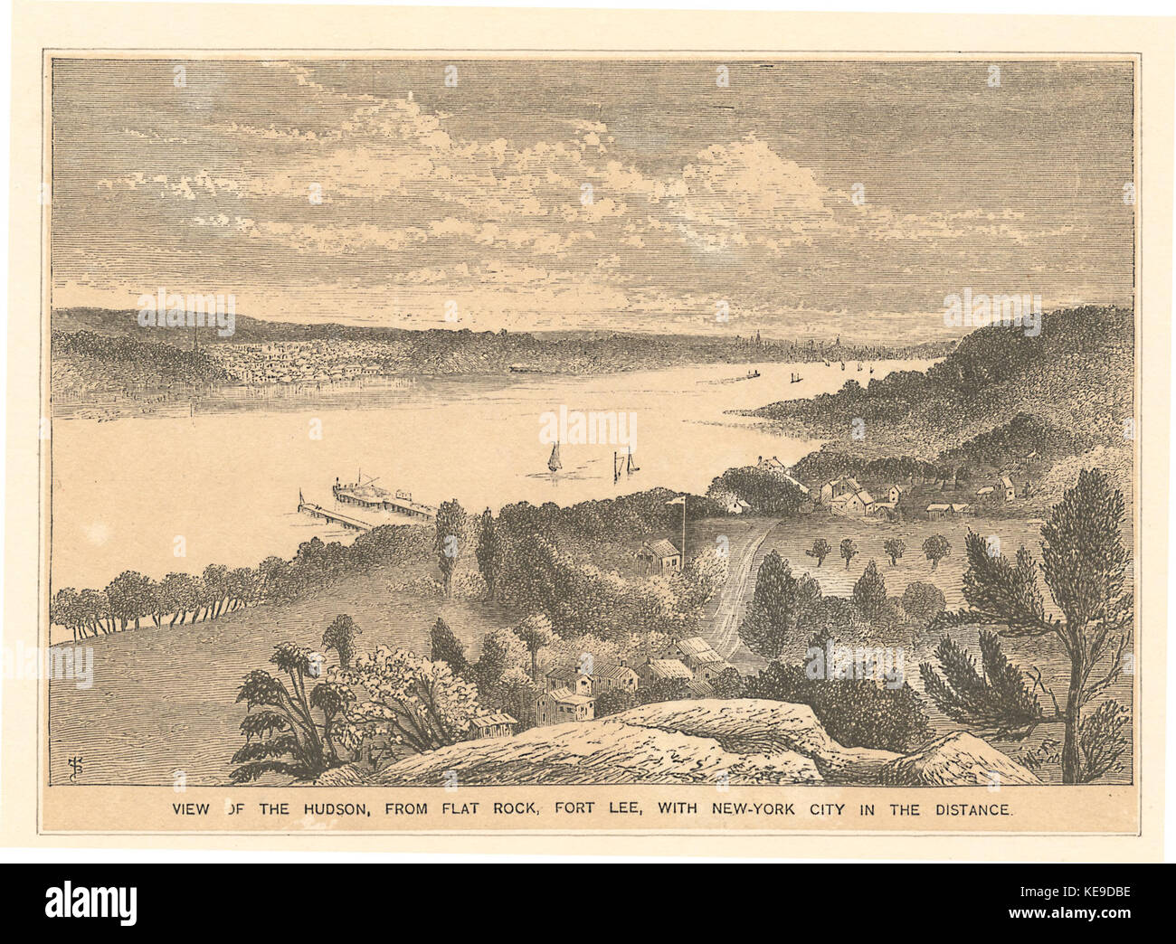 View of the Hudson from Flat Rock, Fort Lee, with New York City in the distance (NYPL b12610211 424943) - Stock Image