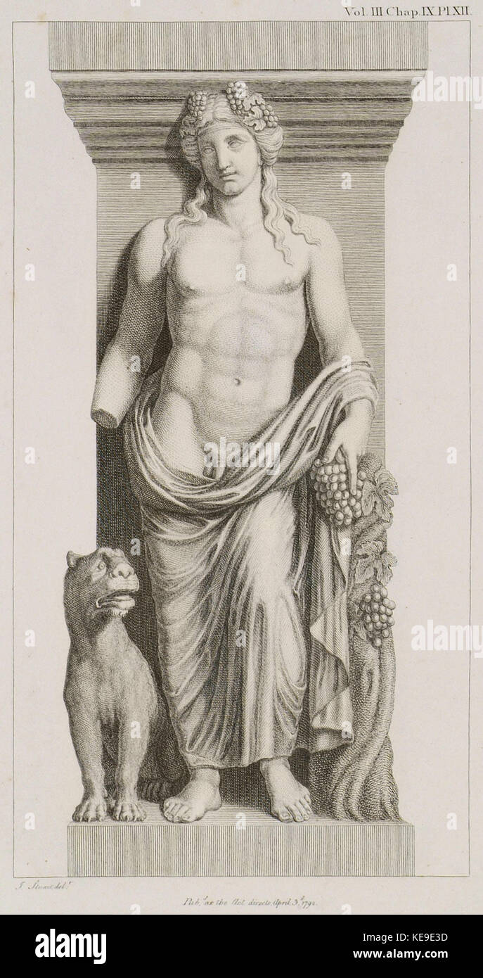 Bacchus with a Tiger See the Bacchae of Euripides   Stuart James & Revett Nicholas   1794 Stock Photo