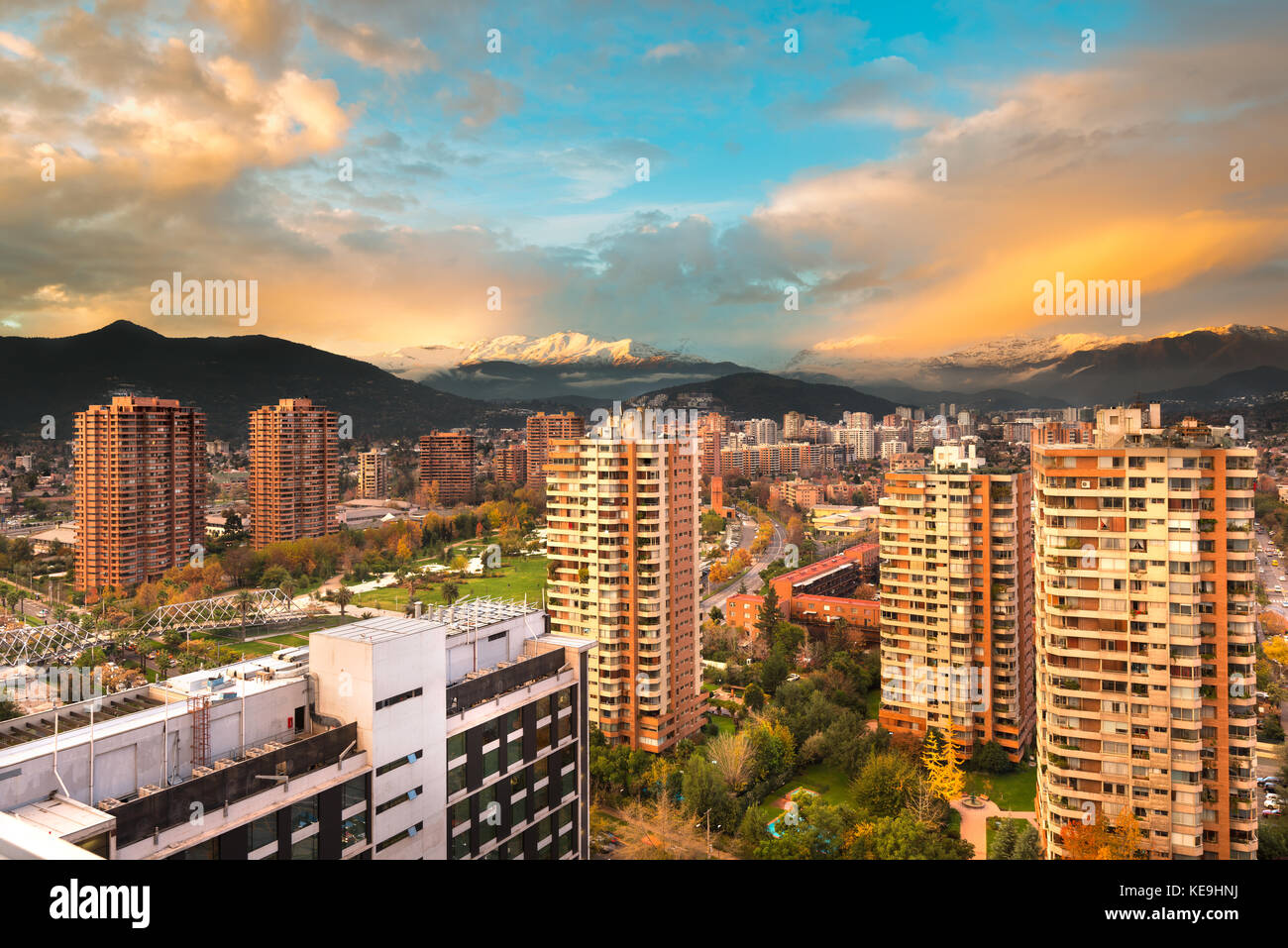 Skyline of buildings at a wealthy neighborhood in Las Condes district, Santiago de Chile - Stock Image