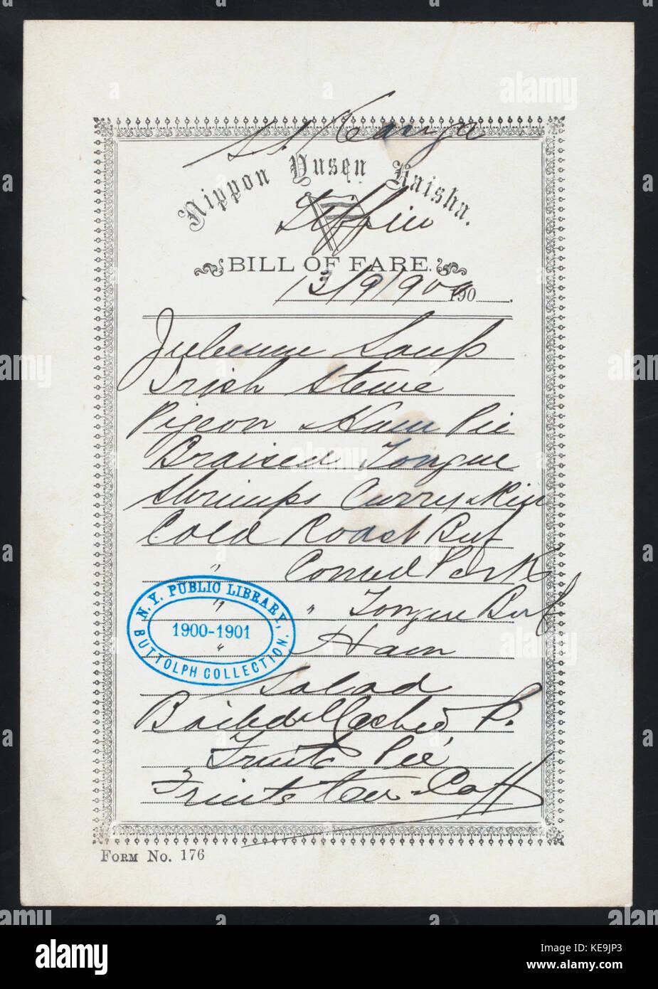 TIFFIN (held by) NIPPON YUSEN KAISHA (at) SS KASUPA (SS) (NYPL Hades 274615 468890) Stock Photo