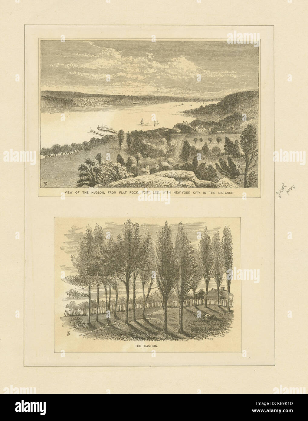 View of the Hudson, from Flat Rock, Fort Lee, with New York City in the distance; The bastion (NYPL b13512822 424392) - Stock Image