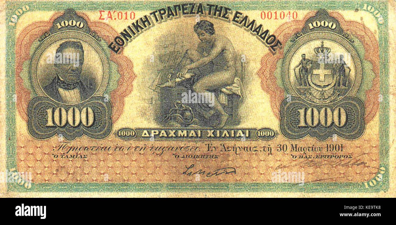 1000 drachmas 1901 front - Stock Image